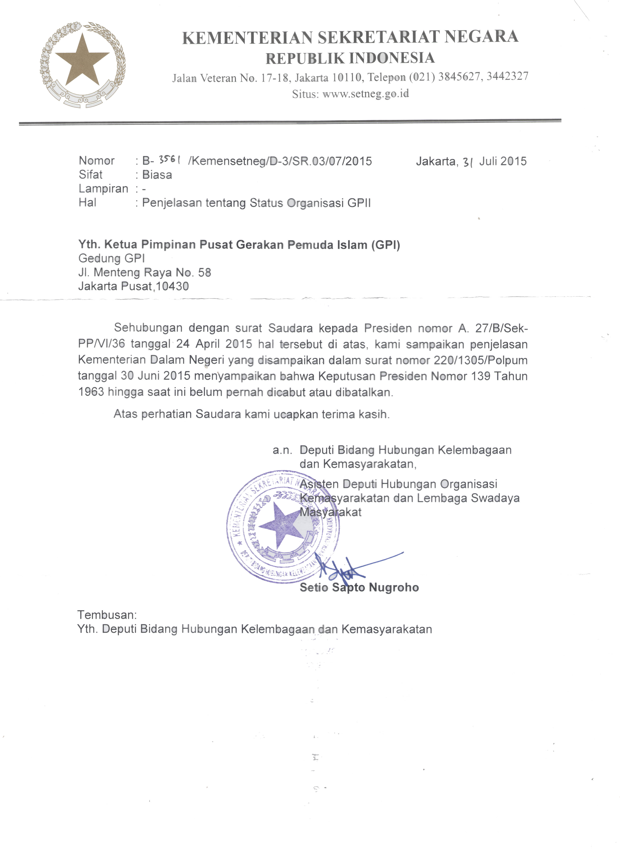 Surat Dari Setneg tentang GPII
